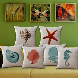 Wholesale coral cushions - Marine Animal Cushion Cover Cotton Linen Throw Pillow Case Conch Sea Horse Coral Cushion Covers Decor pillowcase 240480