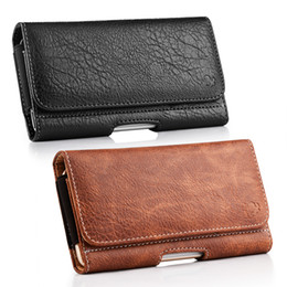 Wholesale Iphone Horizontal Belt Clip - Universal Horizontal PU Leather Case Cover Holster Pouch Wallet with Belt Clip for iPhone Cell Phone Smartphone Up to 6.3 Inch
