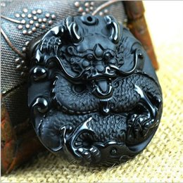 Wholesale Vintage Fine China - New Natural Obsidian Vintage Necklace Fashion Black Dragon Pendants For women men Fine jade Jewelry Free rope unisex