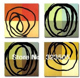 Wholesale Italy Canvas - Abstract 4 panel canvas art oil painting reproduction of famous artwork free shipping to USA Russia Italy French UK