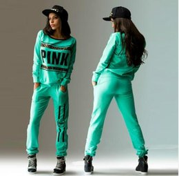 Wholesale Women Pink Suits - New sport wear Tracksuit Women Letter Pink Print Sport Suit Hoodies Sweatshirt +Pant Jogging Sportswear Costume 2pc Set