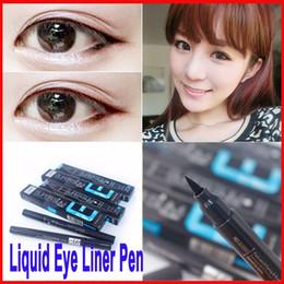 Wholesale Mn Eyeliner Pencil - Women Lady Eye Beauty Smoky MN Black Eyeliner Waterproof MENOW Liquid Eye Liner Pen Cosmetic Eye Line Make Up Tool