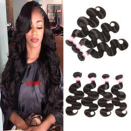 Wholesale Dyed Hair Weave - Brazilian Virgin Hair Bundles Deals Grade 8A Peruvian Cambodian Malaysian Virgin Hair Body Wave Hair Weaves 3 4pcs Lot 8-30inch Can be Dyed