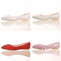 Wholesale Champagne Color Shoes Rhinestones - Flat Heel Pointed Toe Shoes Colorful Rhinestone Bride Shoes Flats Wedding Bridal Shoes Silver Red Pink Color Party Dancing Shoes