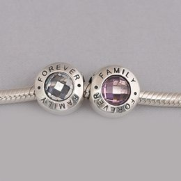 Wholesale Real Families - Real 925 Sterling Silver Family Forever Charm, Clear CZ And Pink CZ & Black Enamel Fit Bracelet Diy Jewelry Making