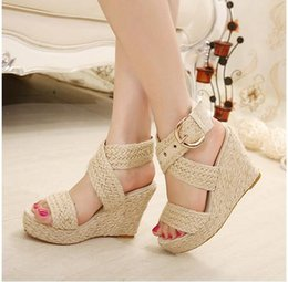 Wholesale Soft Natural Rubber - Sale Bohemian city classified natural look ankle strappy straw braided wedges heel classic 3 colors