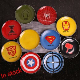 Wholesale Iron Fruits Plate - Superman Iron Man Ceramic Dinner Plates Porcelain Dishes Saucer Plate Rice Noddle Dinnerware Fruit Dish Tableware Plate 9 Design XL-G268