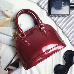 Wholesale Genuine Leather Designer Hand Bags - 2016 New patent leather tote bags handbags women famous brands shell bags ladies hand bags luxury handbags women bags designer M91678