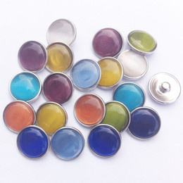 Wholesale Brass Cat Charms - 30pcs lot Mix Colors Fashion Round Cat Eye Noosa chunks Bordure Metal Ginger 18mm snap buttons for diy bracelet jewelry findings