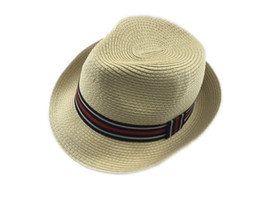 Wholesale Young Women Hats Fashion - Soul Young Fashion Men Women Panama Sun Hats Summer Contrast Color Straw Ribbon Pinched Crown Rolled Trim Floppy Hat Beach Hats
