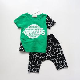 Wholesale Korean Baby Harem Pants - 2016 Summer Kids Korean 2PCS Clothing Sets Baby Boys Lovely Tortoise Shell Suits Short Sleeve Tops+Harem Pants