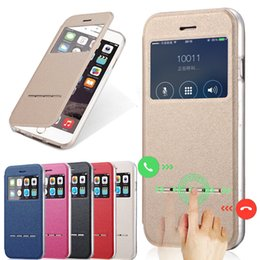 Wholesale Wholesale Sliding Windows - Diforate Luxury PU Leather Smart Answer Sliding View Window Full Cover Cases For iPhone 5 5s 5SE 6 6s Plus 7 7 Plus