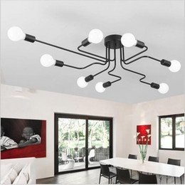 Wholesale White Led Work Light Bar - Wrought iron 6 8 heads ceiling light DIY Multiple rod ceiling dome lamp creative personality design retro nostalgia cafe bar