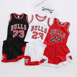 Wholesale Top Baby Girl - HOT Baby Boys Big Girls sports Clothing Sets Children Football Tank 23 Bulls Tops Shirts + Shorts 2pcs Set Kids Sport Clothes Suits A7294