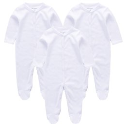 Wholesale Newborn Baby Pack - 3pcs pack Newborn Cut plain baby rompers Set Fashion Cotton Infant Jumpsuit Long Sleeve Girl Boy Rompers Costumes Baby Romper