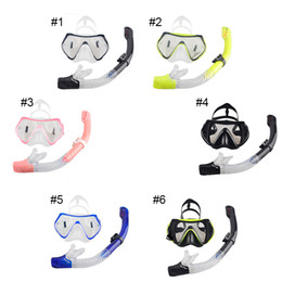 Wholesale Silicone Swimming Goggles - Professional Scuba Diving Mask Snorkel Anti-Fog Goggles Glasses Set Silicone Swimming Fishing Pool Equipment 6 Color 2506017