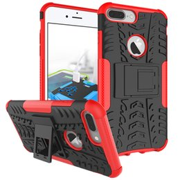 Wholesale Heavy Duty Mobile - For iphone 7 plus Heavy Duty Defender Impact Hybrid Armor Kick-Stand Case Plastic Mobile Phone Cover