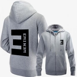 Wholesale Women Hoodies Zip Up Jacket - Eminem zip-up hoodie jacket with BIG E logo on the back Cotton sweatshirt for man and women
