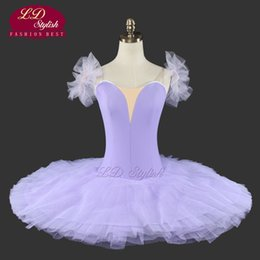 Wholesale Yellow Performance Tutu - Light Purple Plain Ballet Tutu For Girls Without Decorations Natcracker Platter Performance Tutu Ballet Kids LD0025