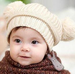 Wholesale Cute Korean Kids Winter Hat - Kids Caps Cute Ball Hats 2016 Winter Warm Knitting Bow Hat Korean Fashion Children Hats ER-769