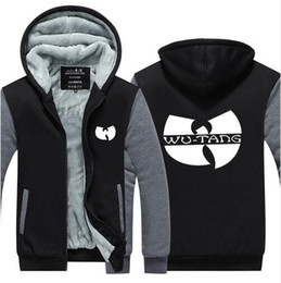 Wholesale Hipster Hoodie - Man Warm Thick Coat Jacket Winter Warm WU TANG Clan Hip Hop Hipster Street Velvet Sweatshirt Pullovers Tops Leisure Hoodies
