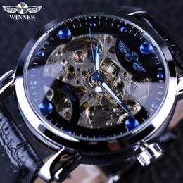 orologio vincitore del montre Sconti 2019 NUOVO! Winner Black Skeleton Designer Blue Engraving Orologio Uomo cinturino in pelle Orologi da uomo Top Brand di lusso Orologio automatico Montre Homme