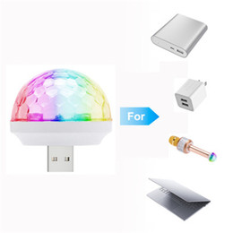 Wholesale Usb Rotating Light - HOT USB Voice Flash KTV MiNi LED Small Magic Ball Voice Control Rotating Colorful KTV Flash Stage Light for Q7 microphone mobile phone