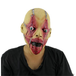 Wholesale Rocker Costume - Top Grade 100% Latex Billy Punk Zombie Adult Latex Rocker Mask Walker Walking Dead Horror Halloween Ghost Mask Free size
