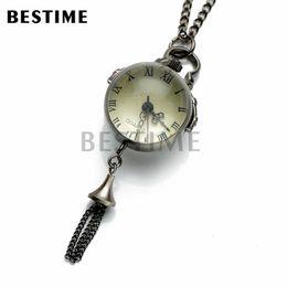 Wholesale Ball Pocket Watch Pendant Necklace - BESTIME Watch Ball Glass Quartz Movement Antique Black Steampunk Pocket Watch Pendant Necklace Chain Roman Numerals
