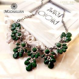Wholesale Neon Fashion Necklaces - Wholesale-2015 New Fashion Ethnic Shourouk Gold Chain Choker Vintage Rhinestone Neon Bib Statement Necklaces & Pendants Women Jewelry PQ10