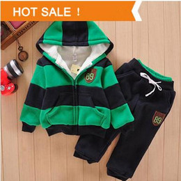 Wholesale Sherpa Baby - 2015 Boys Girls Children Hoodies Winter Wool Sherpa Baby Sports Suit New Jacket Sweater Coat & Pants Thicken Kids Clothes Sets