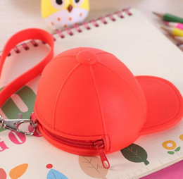Wholesale Cute Key Caps - New Cute Coin Purses cartoon candy color Wallets baseball cap coin bag mini hat key silicone female change hand bag DHL gifts 500pcs