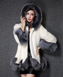 silberner nerzmantel Rabatt High Imitation Fur Coat Frauen Silberfuchs Pelzkragen Mit Kapuze Nerz Mantel Mittellanger Mantel Plus Wintermantel
