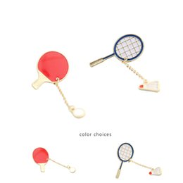 Wholesale Table For Fashion Design - Badminton Brooches for Women girls Cute Table tennis gold plated brooches balls drops link chains New design alloy pins Fashion Jewelry