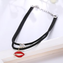 Wholesale Locking Choker Necklaces - 2016 New Arrival Wholesale Vintage Double Layer Pendants Lobster Chain Lock Imitation Leather Chokers Clavicle Necklace Free shipping