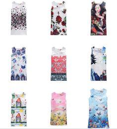 Wholesale Dresses Retro Print Girls - Girl Princess Dress Summer Children Dress Kids Clothes Butterfly Print Baby Girls Retro Pattern Dress 5p l