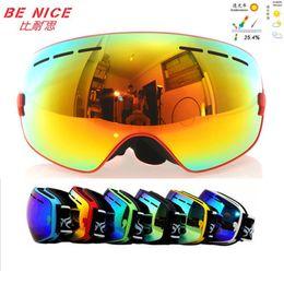 Wholesale Double Lens Snowboard Ski Goggles - Benice snowboard goggles brand professional double anti fog big spherical lens Windproof motocross ski glasses classic eyewear masque de ski