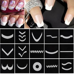 Wholesale French Nail Guides - 18 Sheets Set French Manicure DIY Nail Art Tips Guides Stickers Stencil Strip #M01615