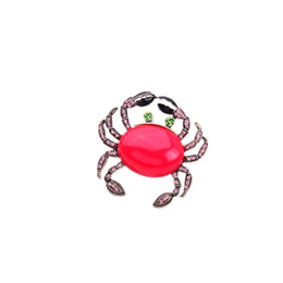 Wholesale Crab Brooches - 2016 Red Cabochon Crab Brooch Rose Pink Crystal Feet Brooches Enameled Claw Charms Vintage Gold Tonal Popular for Lady Free Shipping