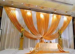 Wholesale Curtain Cloths - 3m*6m Fabric Ice Silk Drape Curtain Wedding Backdrop Decoration with Swag Party Stage Celebration Favors 20ft (w) x 10ft (h)