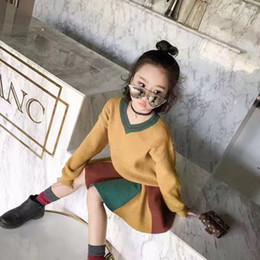 Wholesale Rainbow Girl Tops - Everweekend Children Kids Girls Outfits V-neck Long Sleeves Sweater Tops Blouse + Stripe Rainbow Tutu Skirt Autumn Winter Sets