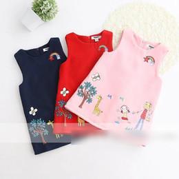 Wholesale Woolen Floral Dress - New Arrival Children Clothing Dresses Suspender Autumn Girls Dress Embroidered Floral Girl Cute woolen Vest Dress Pink Red Navy A7521