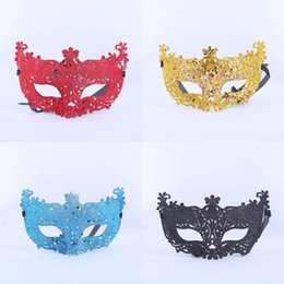 Wholesale Mask Faces For Carnival - 30pcs lot Fox Face querade Mask Venetian Masks Halloween Party Bar Club Sexy Carnival Masks Eye Mask Gold Silver Blue Red Black