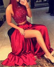 Wholesale evening tops black - Halter Neckline Heavy Beading Top Two Pieces Wine Red Prom Dresses Front Slit Elastic Satin Evening Dress