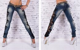 Wholesale Lace Skinny Jeans - Cotton Blended Denim Lace Jeans Stretch Women Deep Blue Jeans Bleach Hot Fashion Jeans Free shipping