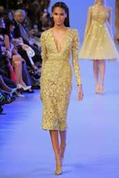 Wholesale Elie Saab Flower Dress - Yellow Beaded Lace Evening Gowns Elie Saab Dresses Celebrity Long Sleeves Deep V Neck Sheer Short Tea Length Arabic Prom Pageant Wear
