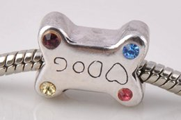Wholesale Dog Bone Silver Charm - big hole beads sterling silver plated antique silver Suitable for European charm bead dog bones bracelet jewelry DIY style