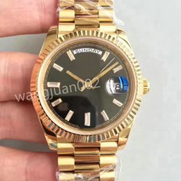 Wholesale Yellow Face Mens Watch - 2017 Top Luxury Brand yellow gold 3 color face DAY DATE 40mm Automatic self-winding Mechanical movement folding Crown clasp Mens watch Wri