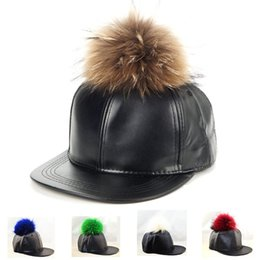 Wholesale Real Fur Hat Men - Leather baseball cap pom pom real fur hats harajuku style adjustable snapback fashion caps for woman and man Free Shipping