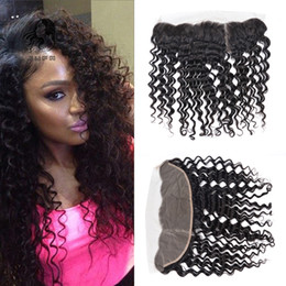 Wholesale Deep Wave Free Closure - Brazilian Deep Wave Lace Frontal Closure Middle Free Three part 13*4 Virgin Human Hair Ear to Ear Lace Frontal Peruvian lace frontal